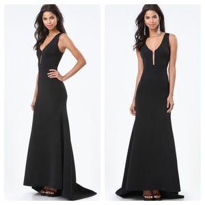 bebe black deep v mermaid gown